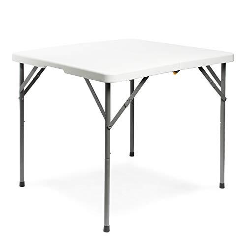 Todeco Klapptisch quadratisch 86.5x86.5x74cm, Campingtisch Beistelltisch mit Tragegriff, Gartentischleicht, für Camping BBQ Party Buffet Hochzeit, weiß