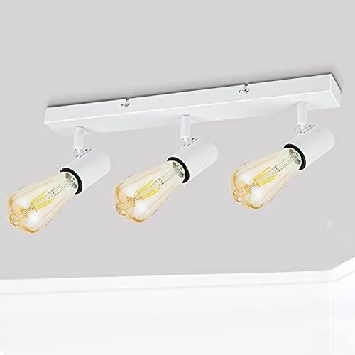 Dehobo Lampara Techo 3 Focos e27 Ajustable, Lamparas focos de Techo Blanco Ajustables y Giratorios Iluminación para Dormitorio Sala de Estar Cuarto de Pasillo, Foco Retro Max. 60W, Sin Bombilla E27