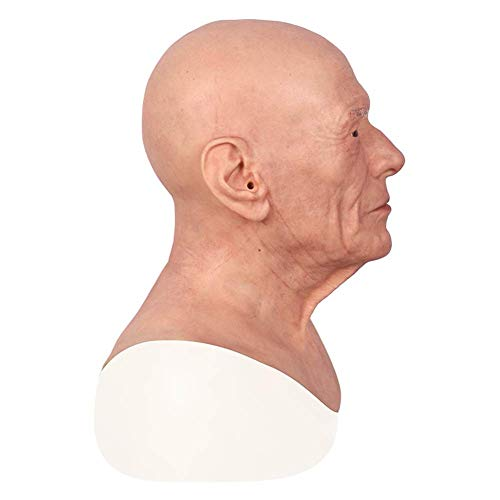 WANGXNMask Latex-Gesichtsmasken-Silikon-Maskerade-Transgender-Rollenspiel-Vollkopfmaske des Alten Mannes
