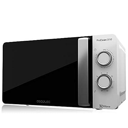 Cecotec Microondas Blanco con Grill ProClean 3110. 700W, Capacidad de 20L, Grill 800W, 6 Niveles, Tecnología 3DWave, Temporizador 30 min, 6 Niveles, Modo Descongelar, Acabado Blanco