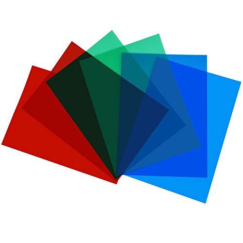 DECARETA 6 Filtros de Colores para Luces Gelatinas de Colores para Luces Láminas de PVC de Colores Filtros Fotográficos de Colores Láminas de Filtros de Color Rojo, Verde, Zzul