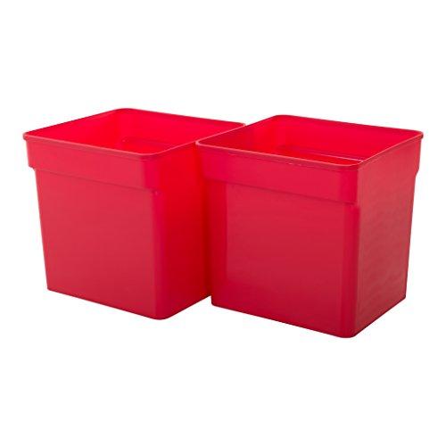 IRIS, 2er-Set Aufbewahrungsboxen / Fächer für Kallax 'Inner Box', für offene Regale, 31,5 L, Plastik, rot, 31,8 x 31,4 x 37,5 cm