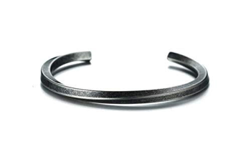 J JEWELLERY 21 cm elegant, simple men's bracelet bangle made of stainless steel in sizes M or L - in shiny, polished silver or antique silver. 24 Antique (L)