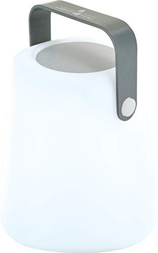 SCHWAIGER -661767- RGB LED Tischleuchte mit Bluetooth Lautsprecher 10 W, 2000 mAh Akku wiederaufladbar, IP44 spritzwassergeschützt