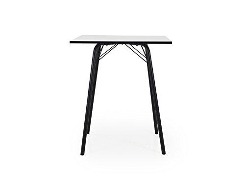 Tenzo 3615-906 Dine Designer Table de Bar, Plateau en Panneaux de Particules ép. 25 mm, mélaminé Blanc miniperle CPL, Chants Noirs, 95 x 80 x 80 cm (HxLxP)