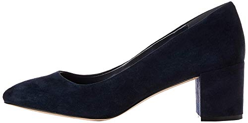 find. Round Toe Block Heel Leather Court Zapatos de Tacón, Azul Navy, 36 EU