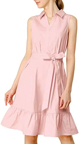 Allegra K Women s Cotton Dresses Casual Ruffled Sleeveless Vintage Shirt Dress with Belt Pink product image