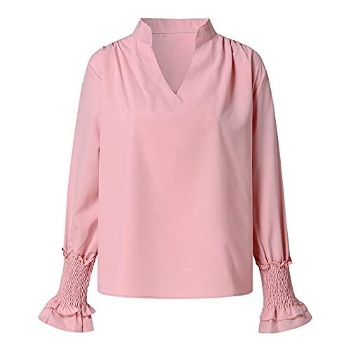 Wave166 Camisetas de mujer de un solo color, blusa fruncida, cuello en V, manga enrollada, blusa informal, para trabajo, camisa elegante, top de otoño, corsé para mujer, Rosa., XL