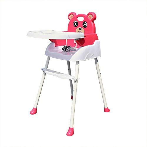 Junqin Baby High Clash Feeding High Silla Antideslizante 4 en 1 Silla Alta portátil, con cinturón de Seguridad, fácil de Montar, Adecuado para bebé de 6 Meses a 3 años (Rosa)-Pink