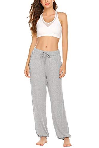UNibelle Yogahosen Damen Lang Hose Weich Jogginghose mit Tasche Sporthose für Yoga Pilates Fitness Training Grau-S