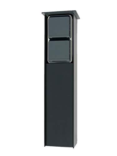 Jehoka E-zuil 400 uitgerust met Berker schakelaarprogramma (antraciet) Berker schemerschakelaar & stopcontact (grijs)