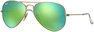 Ray-Ban Aviator Unisex Sunglasses Gold Frame Green Flash Lenses. 58mm (standard size). UV Protection and Maximum Comfort. 100% Authentic. Made in Italy.
