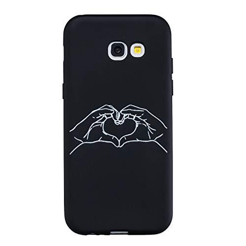 LeviDo Funda Compatible para Samsung Galaxy A5 2017 Silicona Case Motivo Dibujos One Piece Carcasa Ultrafina Slim Goma Antigolpes TPU Bumper Resistente Negro Cover, Amor