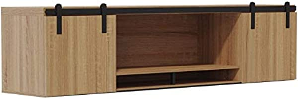 Mirella 72 Wall Mounted Hutch With Sliding Wood Doors In Sand Dune