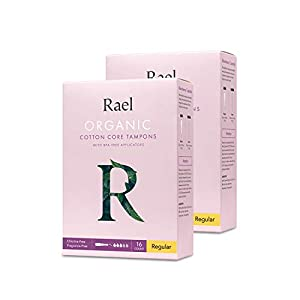 Rael Organic Cotton Unscented Tampons - BPA Free Plastic Applicator, Chlorine Free, Ultra Thin Applicator with Leak Locker Technology (32ct Total), Pack of 2