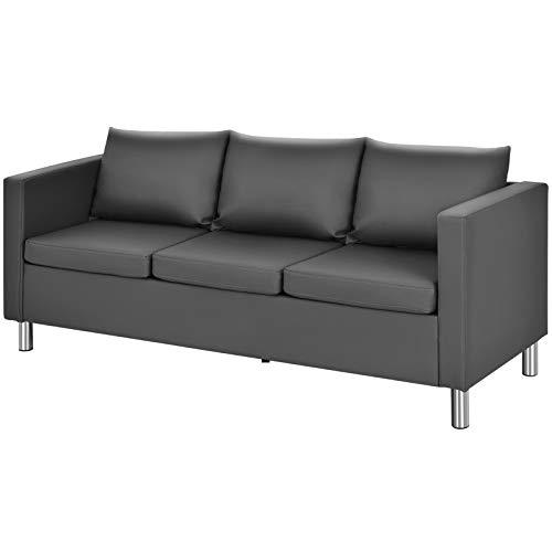 COSTWAY 3 Sitzer Sofa mit Kissen, Kunstleder Sofagarnitur, Ecksofa grau, Couchgarnitur perfekt für Zuhause und Büro