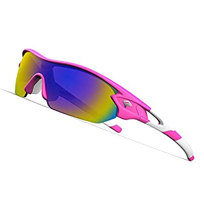 TOREGE Polarized Sports Sunglasses with 3 Interchangeable Lenes for Men Women Cycling Running Driving Fishing Golf Baseball Glasses TR02 (Pink&White&Purple Lens)