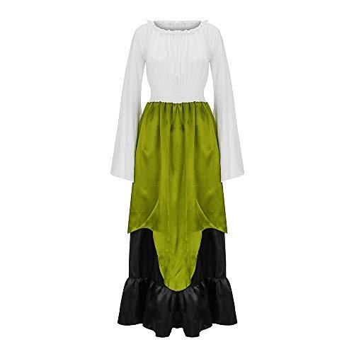 Mittelalterliches Kostüm Damen Lange Ärmel Renaissance-Kleid mit Trompetenärmel Mittelalter Party...