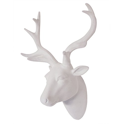 Animal Head Wall Art, Deer head Wall Decor, White Fake Furry/Felt/Velvety Resin Deer Head With White Antlers For Wall Mount Decoration, Size 10' x 12' x 5.5' by Smarten Arts