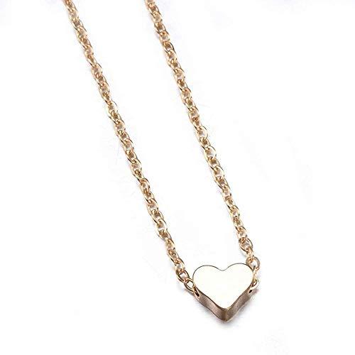 ZQMC Collar Verano Mujer Señora Simple Amor Forma Corazón Colgante Gargantilla Cadena Collar Babero Playa Verano Collar Joyería