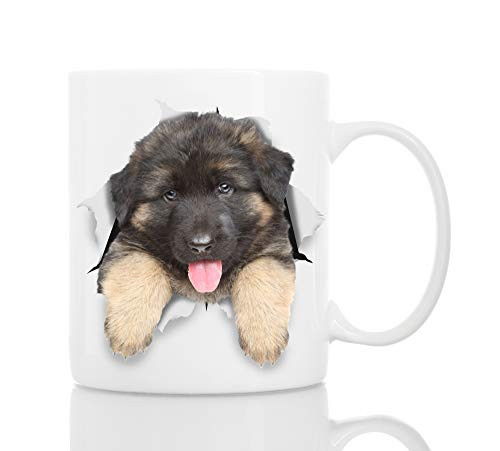 German Shepherd Puppy Dog Mug - Ceramic Funny Coffee Mug - Perfect Dog Lover Gift - Cute Novelty Coffee Mug Present - Great Birthday or Christmas Surprise for Friend or Coworker, Men and Women (11oz)