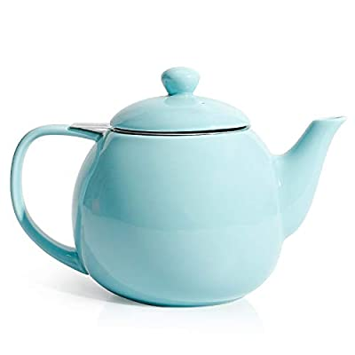 Sweese 221.102 Teapot, Porcelain Tea Pot with Stainless Steel Infuser, Blooming & Loose Leaf Teapot - 27 ounce, Turquoise