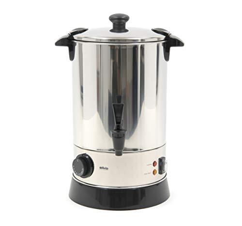 Silva-Homeline HGA 680 Heißgetränkeautomat, mit Auslaufhahn, Zum Erwärmen, Warmhalten, Einkochen oder als Kochtopf verwendbar, Rostfreier Stahl, 6.8 liters, schwarz/silber
