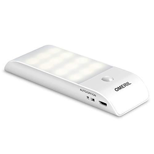 OMERIL Luce Notte LED, Luce LED Sensore di Movimento e Luce con Striscia Magnetica Adesiva, Ricaricabile Lampada Armadio con Sensore per Scale, Corridoio, Cucina, Garage -Auto/On/off