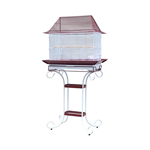 KGDC Gabbia Voliera per Uccelli 153cm Birdcage, Roof Top Largo Metallo Parrot Cage Bird Cage for Budgie Canary Aviary Cockatiel con Playtop Stand Uccelli Gabbie