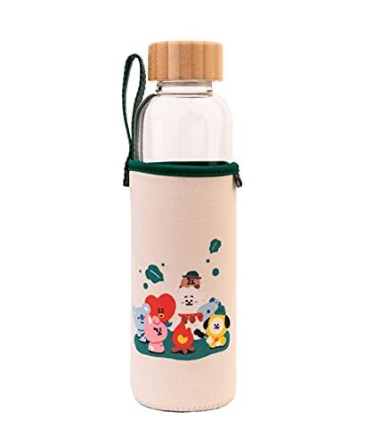 Botella agua BT21 - Botella agua cristal - Botella termica 500ml - Botella agua niños sin bpa / Botella agua reutilizable - Producto con licencia oficial