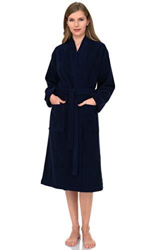 TowelSelections Albornoz para mujer de algodón turco de rizo kimono fabricado en Turquía, azul Depths, M-L