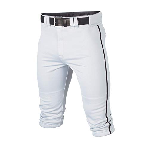 Easton RIVAL+ KNICKER Piped Baseball Pant, White/Black, Youth, Large