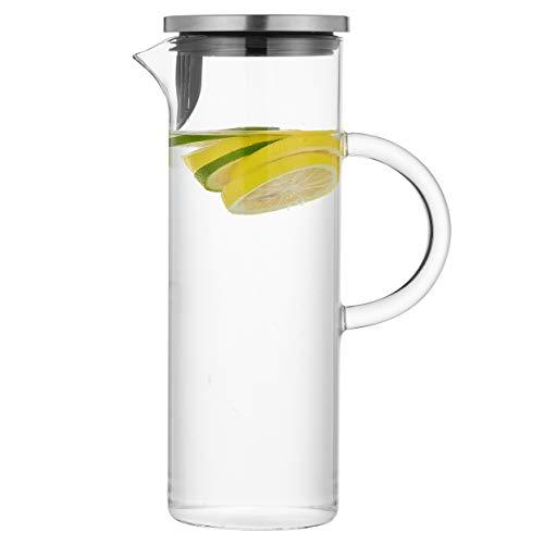 Jarra de vidrio de 450 ml con asa y tapa, jarra de agua hecha a mano para agua caliente/fría, té de limón helado y bebida de jugo