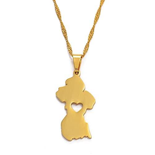 Collares Mapa de biz colgante collar mujeres hombres oro color gorjana joyería república de kenia-45cm cadena fina