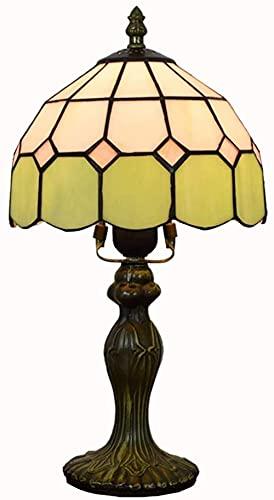 Retro Mediterráneo Lámpara del Banquero Pantalla de vitral verde tallada a mano Base antigua para sala de estar Dormitorio