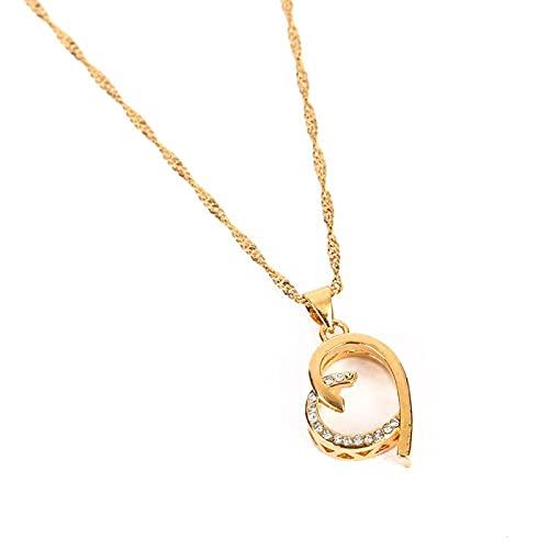 JIEZ Collar de Colgantes de corazón de Moda 24k Color Oro Piedra de Cristal Joyería Linda del corazón