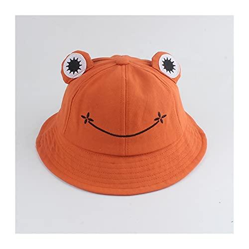 `Star Empty Sombreros para niños Niño Dibujos Animados Frog Bucket Sombrero Pesca Gorra Lindo Sombrero De Froggy Outdoor Sun Pescador Sombrero (Color : Orange, Size : Kid Size)