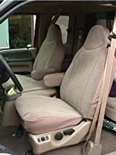 Durafit Seat Covers, Made to fit 1999-2001 F150-F550 Truck, Front High Back Captain Chair Seat Covers in Tan Leatherette Fabric with Molded Headrests and 1 Armrest Per Seat