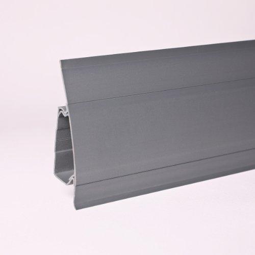 25 Meter Kunststoffsockelleiste Duo-Soft Flexleiste 64mm grau All Inclusive Paket