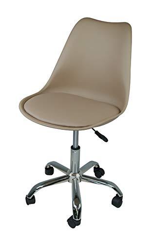Sedia da Ufficio Girevole, Sedia da scrivania Tortora con rotelle MOD. Sally