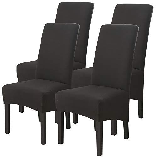 papasgix Fundas para sillas Pack de 6 Fundas sillas Comedor, Lavable Extraíble Funda, Muy fácil de Limpiar, Duradera Modern Bouquet de la Boda Hotel Decor Restaurante,Negro