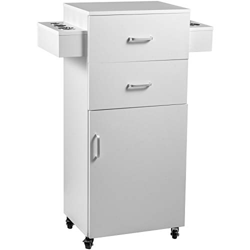 VEVOR Salon Storage Cabinet Mobile Stylist Beauty Station Black Salon Trolley Cart with 4 Casters Salon Stations for Hair Stylist Hair Dryer Holder Hair Cart Barber Rolling Hair Trolley(White )