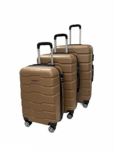 ESS COO - Juego de 3 maletas de viaje con ruedas giratorias (55 cm, 65 cm, 75 cm), beige, 55 cm, 65 cm, 75 cm,