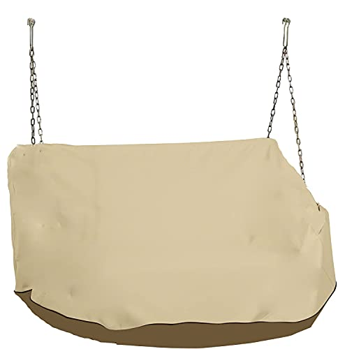 """boyspringg Swing Cover Outdoor Hanging Porch Swing Bed Cover Patio Canopy Cover Water-Resistant All Weather Protection 56""""Lx32""""Wx25""""H"""