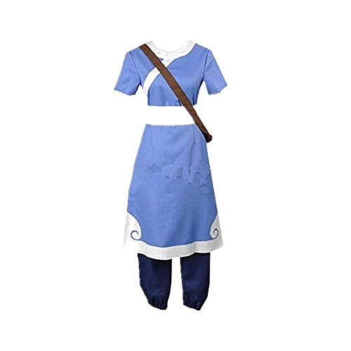 CHANGL 6PCS Avatar: The Last Airbender Katara Cosplay Costume Robe Uniform Suits Oriental Traditional Clothes Halloween Carnival