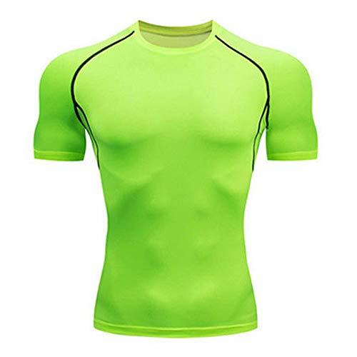 Herren T-Shirt Kompression Kurzarm Shirt Fitness Training Running Tennis Funktionsshirt Rundhals Muskelshirt Kompressionshirt Sportshirt Laufshirt Oberteil S