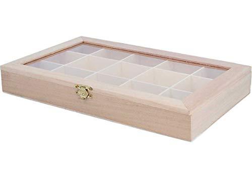 Scatola in legno con vetrina espositore, 30 x 19 x 4 cm, con divisori, finiture di alta qualità, in legno naturale