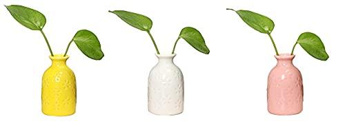 BERTY·PUYI Florero de cerámica Florero de Planta pequeña Contenedor Lindo Mini florero Estrecho Decorativo con patrón de Flores para decoración de Oficina en casa