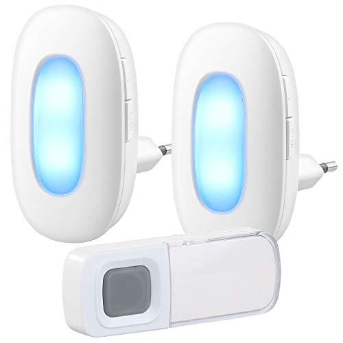 CASAcontrol Lichtklingel: Steckdosen-Funk-Klingel mit optischem Signal & zweitem Empfänger, IP54 (Tür Gong)