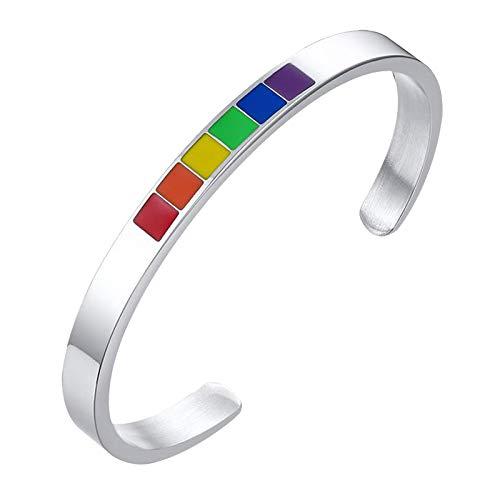 #N/A/a Pulsera de Orgullo, Pulsera de Acero Inoxidable y Iris LGBT para Parejas Gay y Lesbianas Regalos Pulsera Ajustable C - de Plata